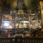 Scaffolding in front of altar of St. Cantius Church during gilding restoration.