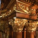 Column capitals after gilding conservation at St. Cantius Church in Chicago.
