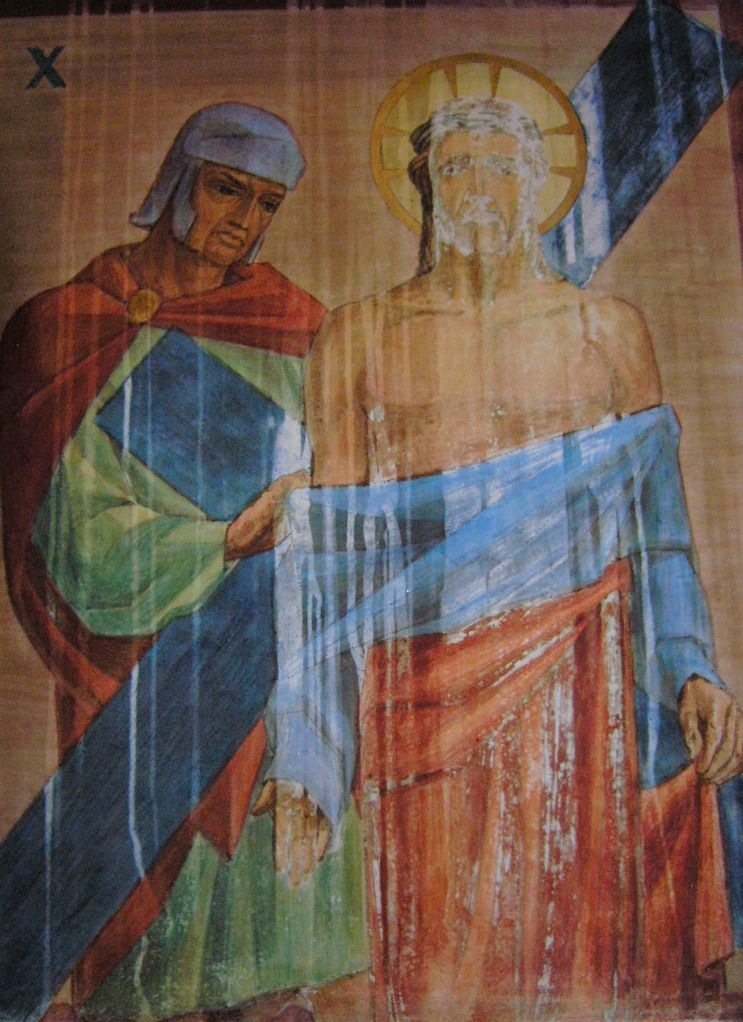 Photo of station station of the cross painting conservation