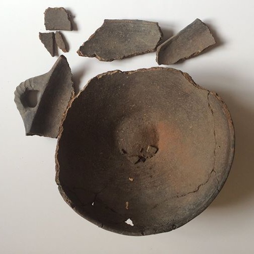 Shattered Etruscan ceramics before conservation