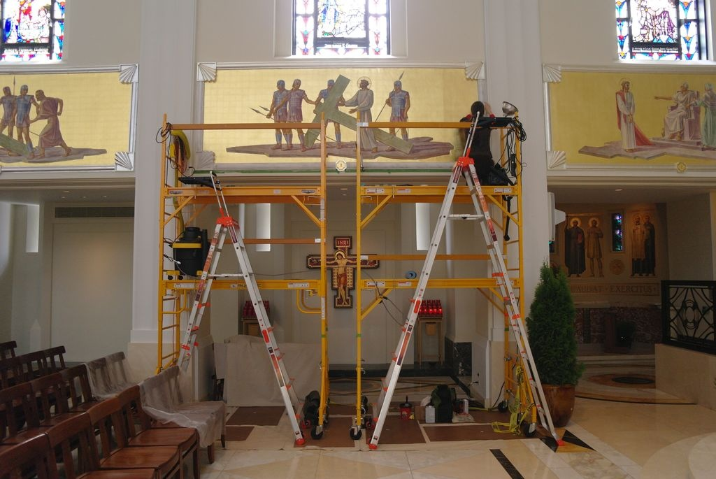 Scaffold during gilding restoration of frame at Madonna della Strada chapel
