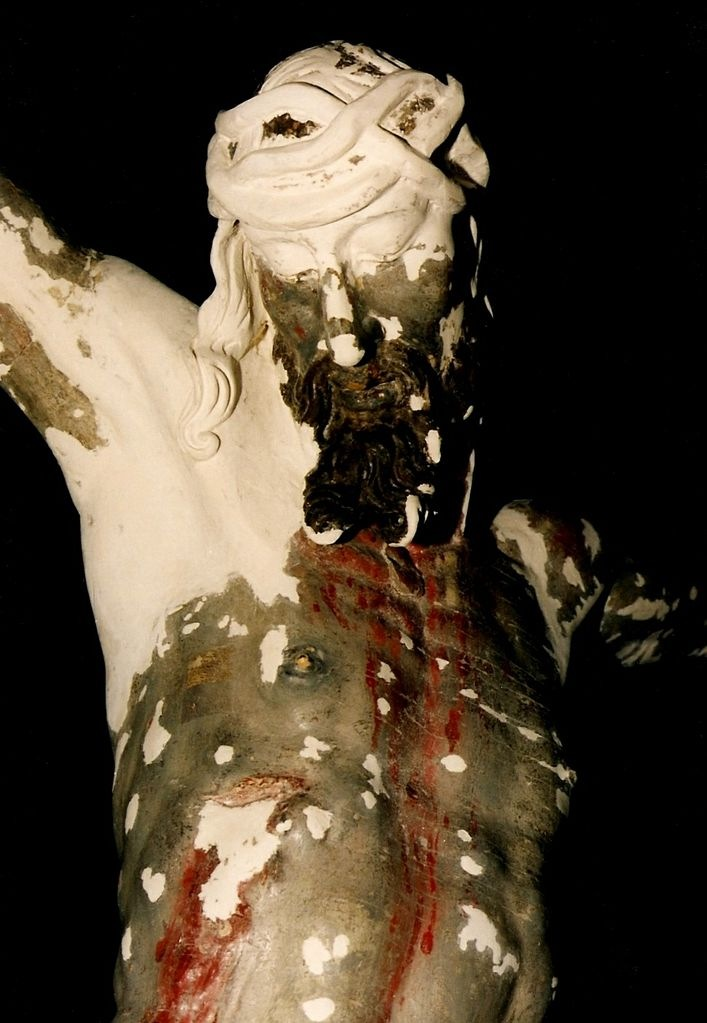 Jesus Christ during sculpture restoration