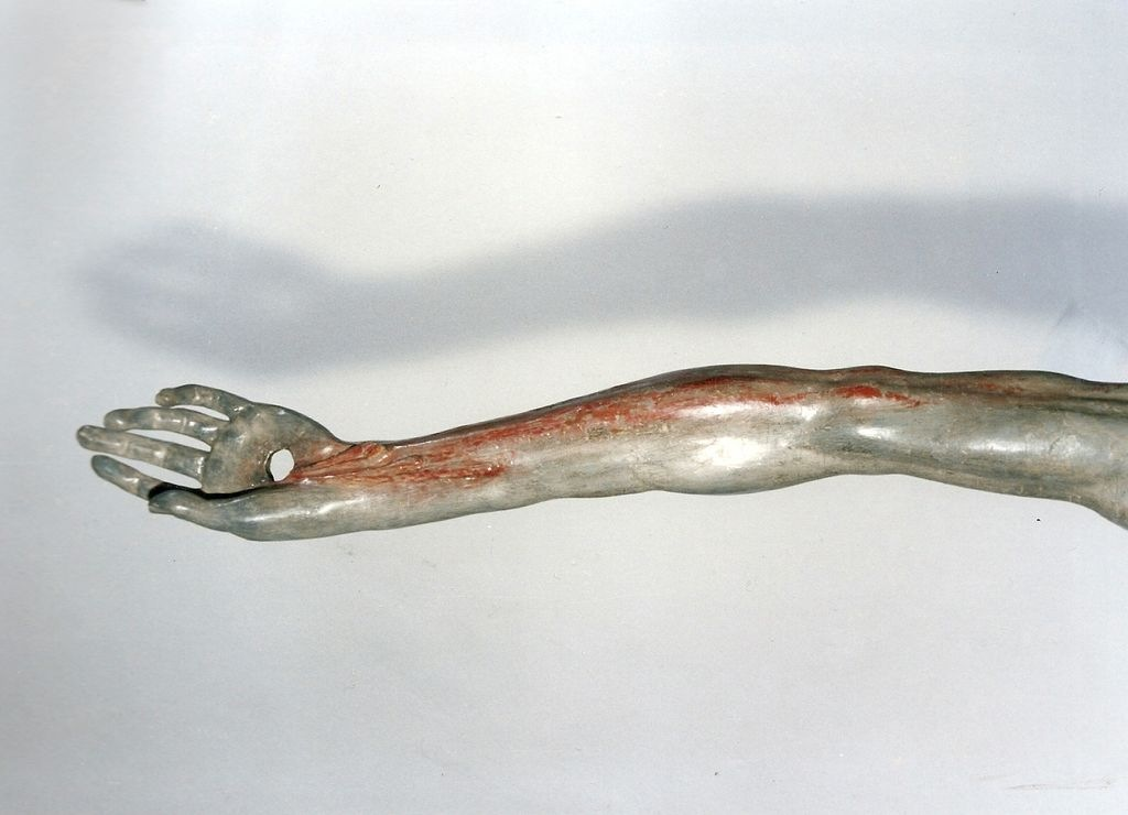 Jesus Christ hand after sculpture conservation