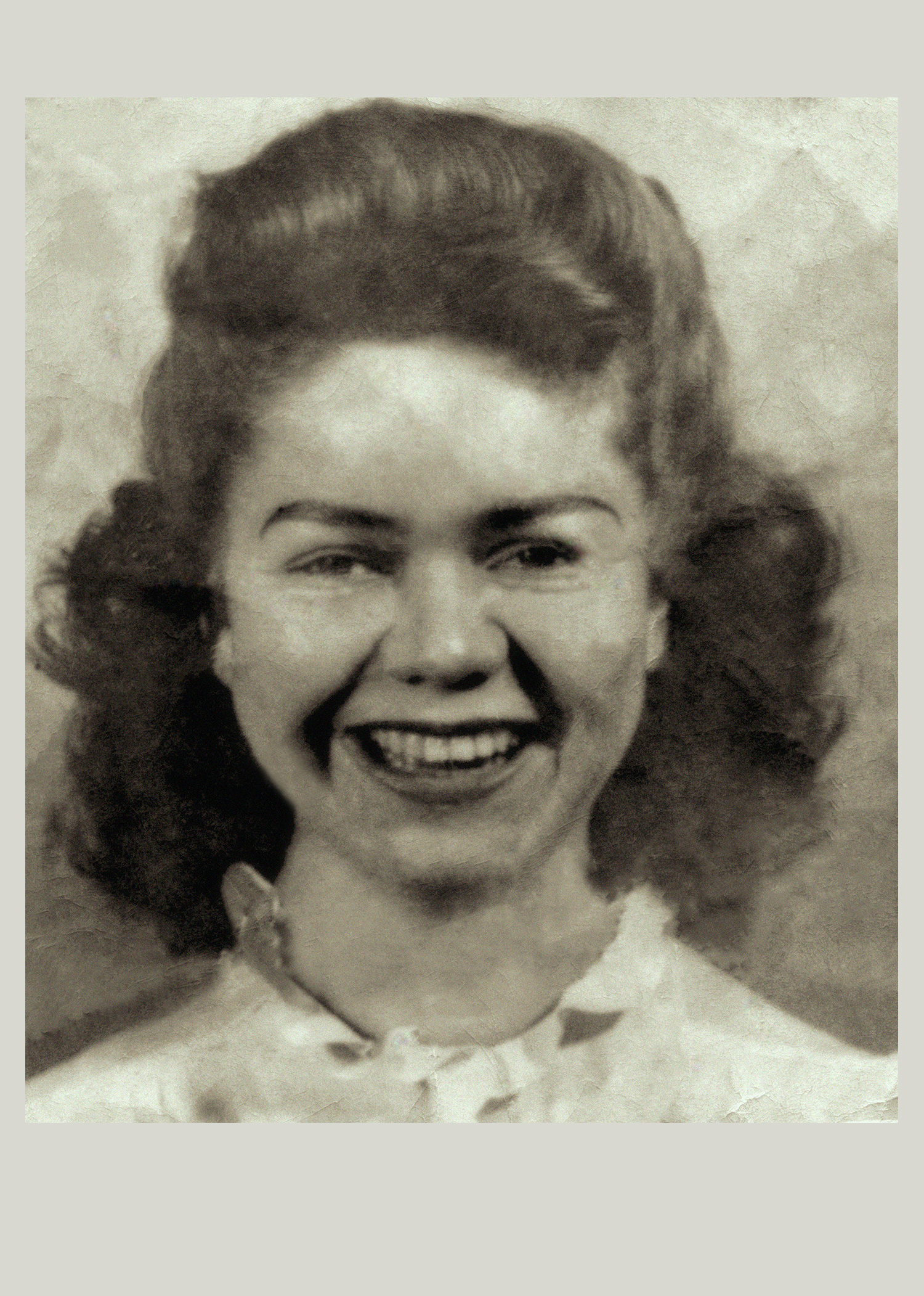 Damaged portrait after digital restoration.