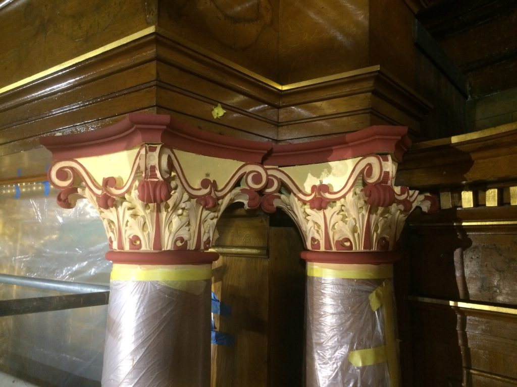 Column capital during gilding restoration