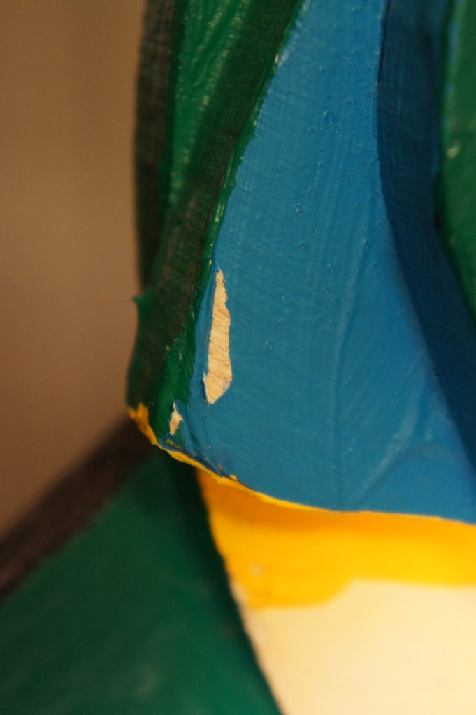 Close up of Karel Appel sculpture before conservation