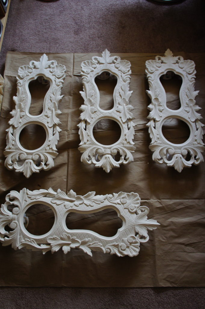 Wooden ornament during gilding restoration and preparation